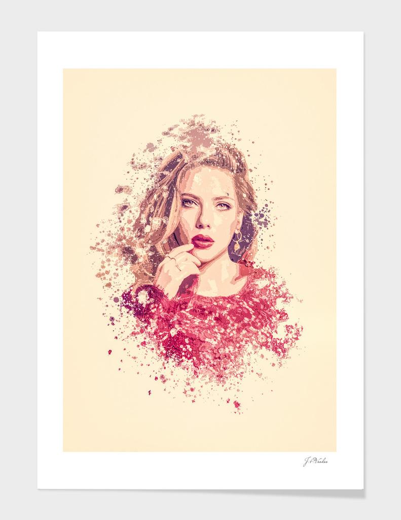 Scarlett Johansson splatter painting