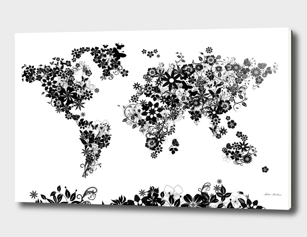 world map flowers black and white