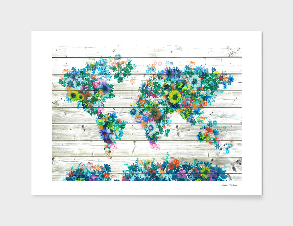 world map flowers vintage