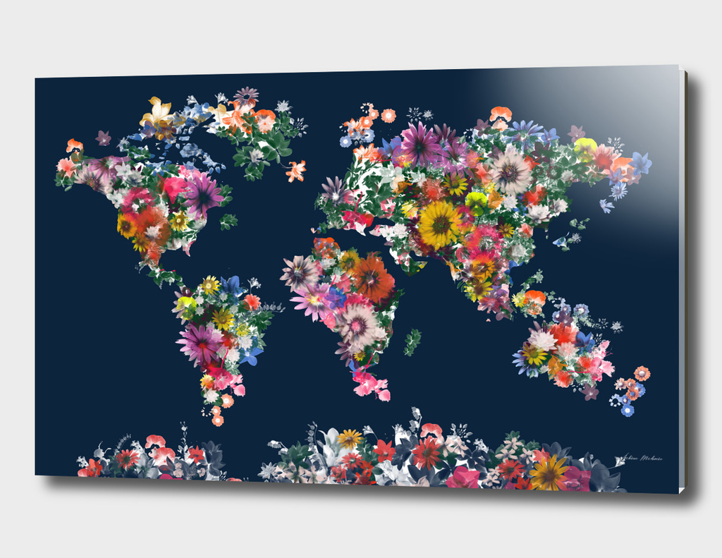 world map flowers vintage 2