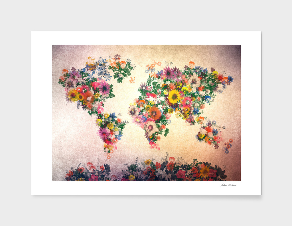 world map flowers vintage 3