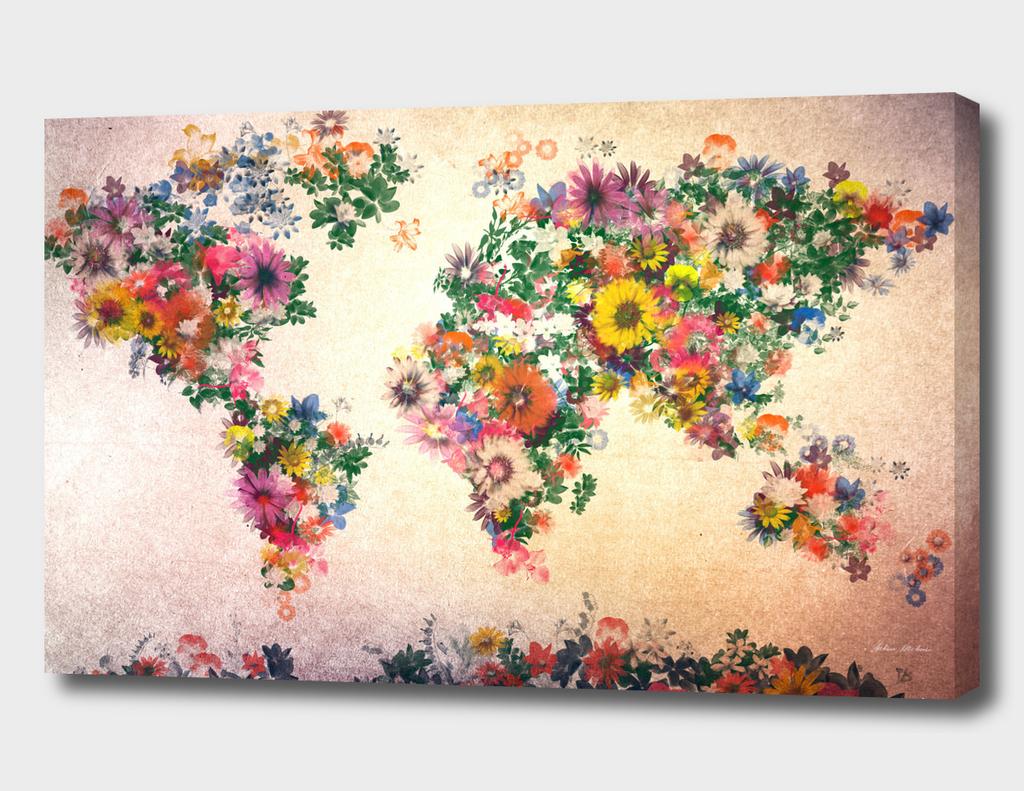 world map flowers vintage 3