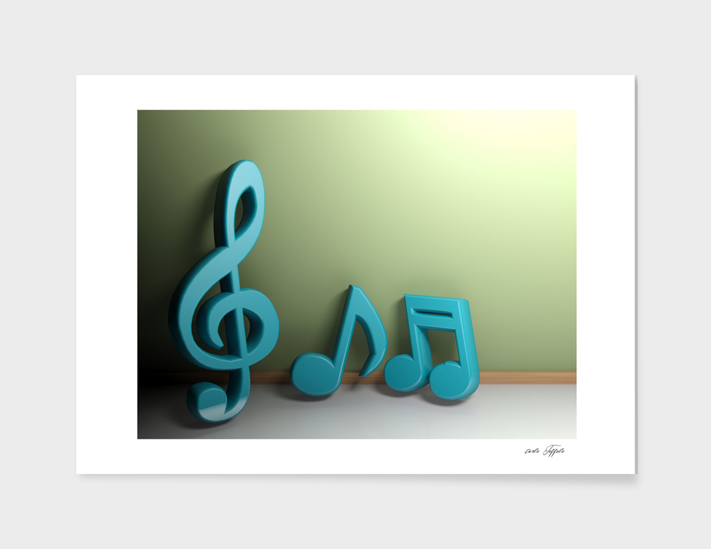 Musical symbols at green wall - 3D rendering
