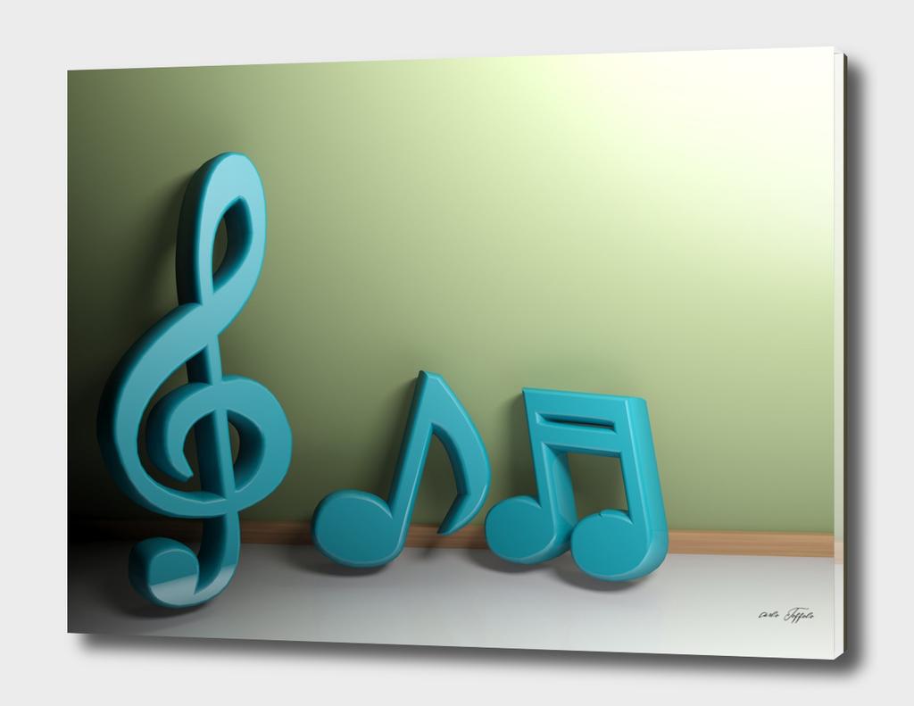 Musical symbols at green wall - 3D rendering