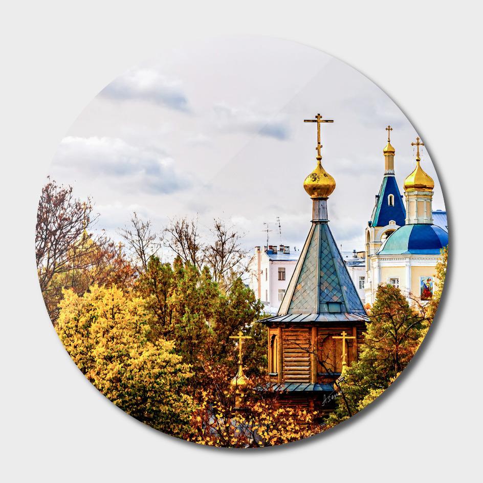 Wooden Chapel In Golden Autumn Season