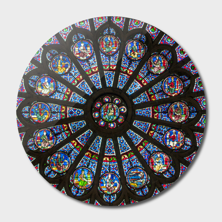 STAINED GLASS Notre Dame Cathedral Paris France