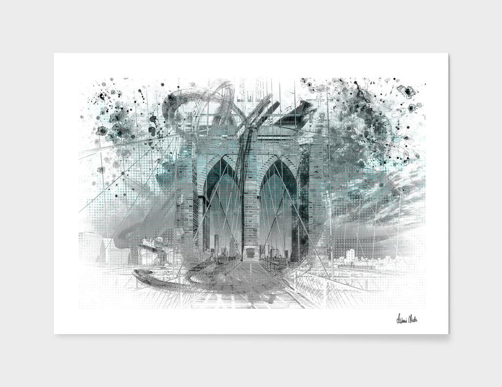 City Art Brooklyn Bridge in Detail | cyan