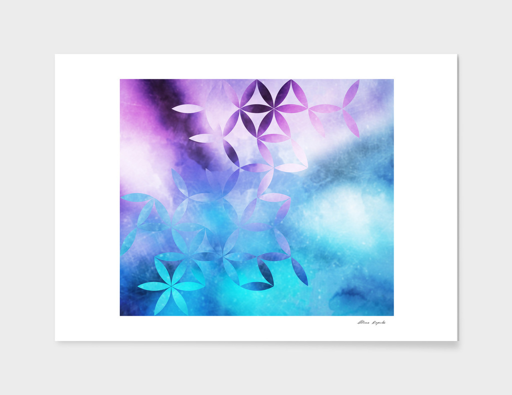 geometric flowers i blue