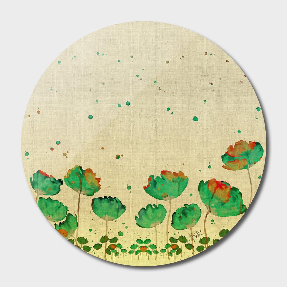 """Green flowers & Dots"""