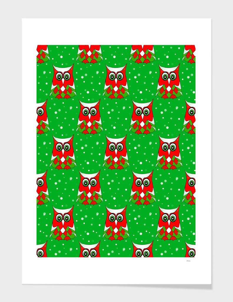 Christmas Owl Pattern Green