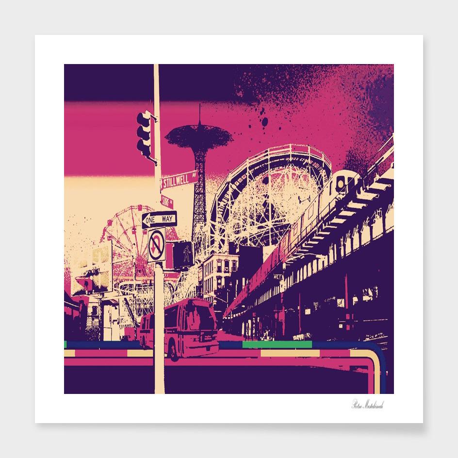 Pink city retro vintage futurism art
