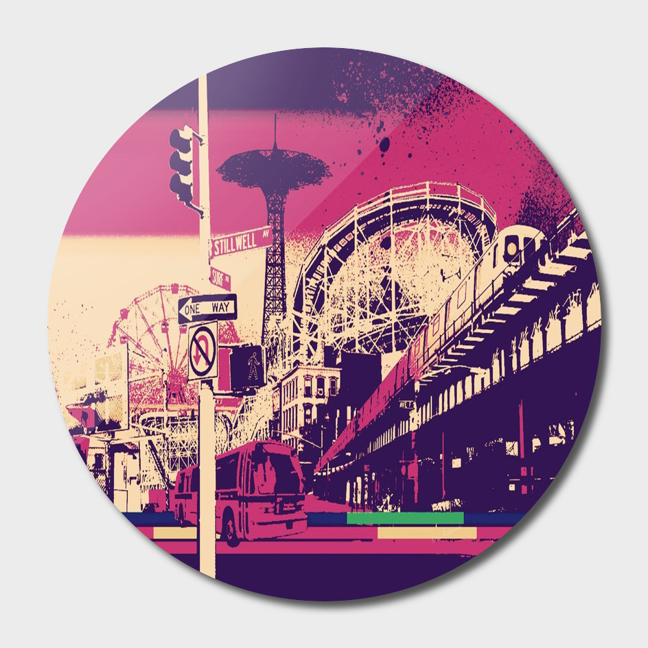 Pink city retro vintage futurism art
