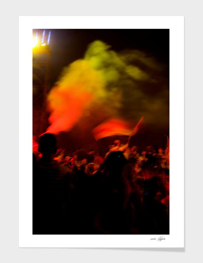 Crowd celebrating anniversary of Goztepe football team