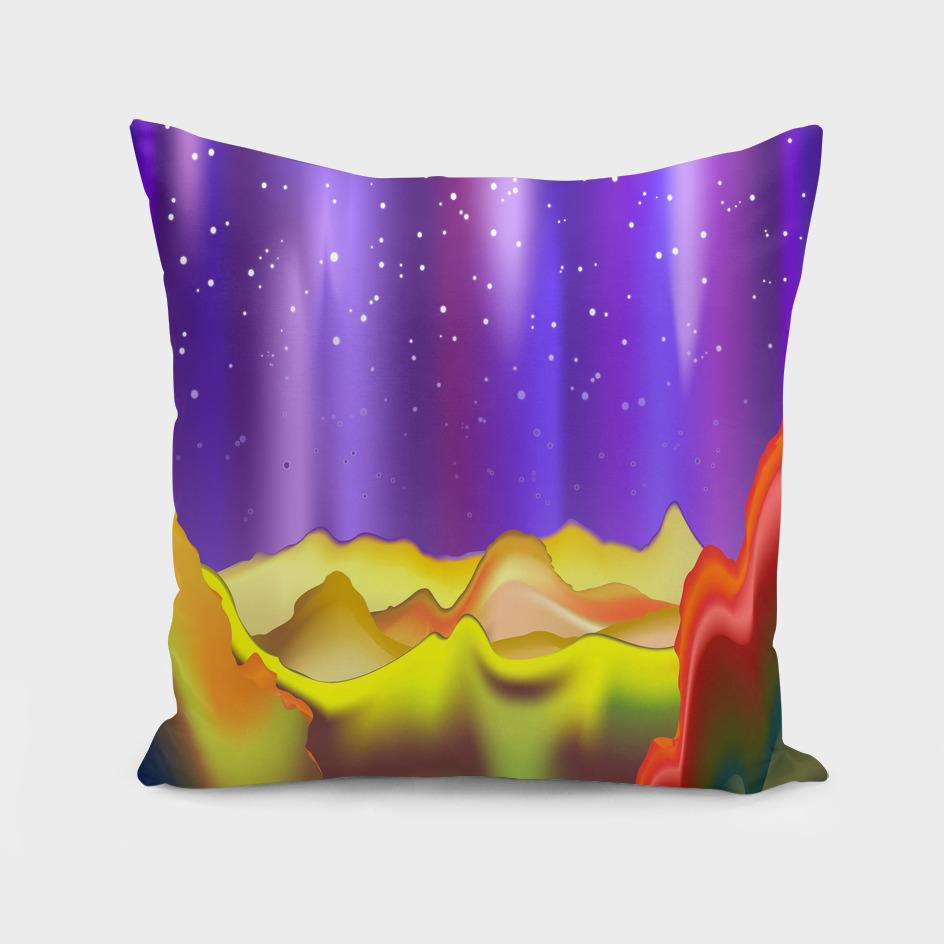 Aurora Borealis on Rainbow Surreal Mountains