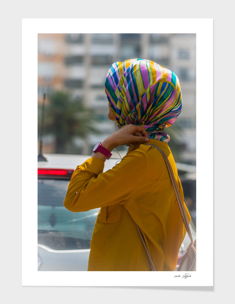 Modern colorful muslim woman in the city