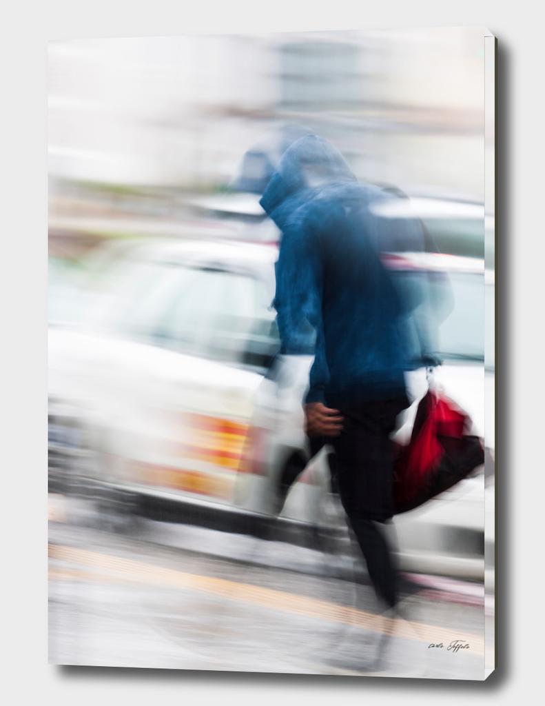 Boy walking in the city