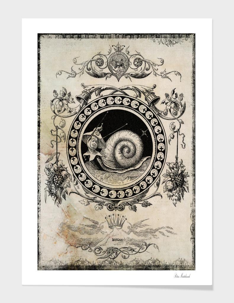 snail vintage collage art framed