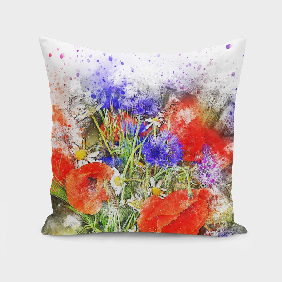 flower bouquet poppy art abstract