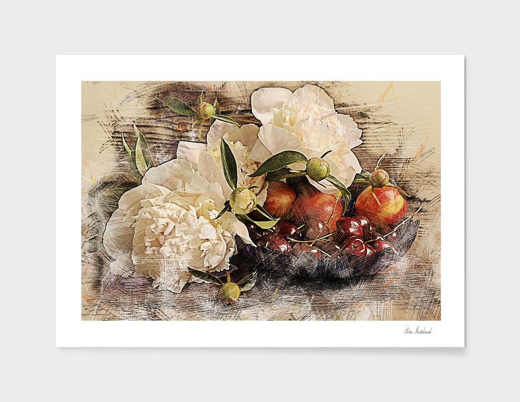 still life peonies fruits