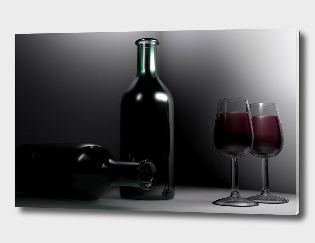 Red wine in the glasses - 3D rendering