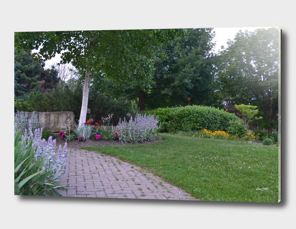 Flower garden by path