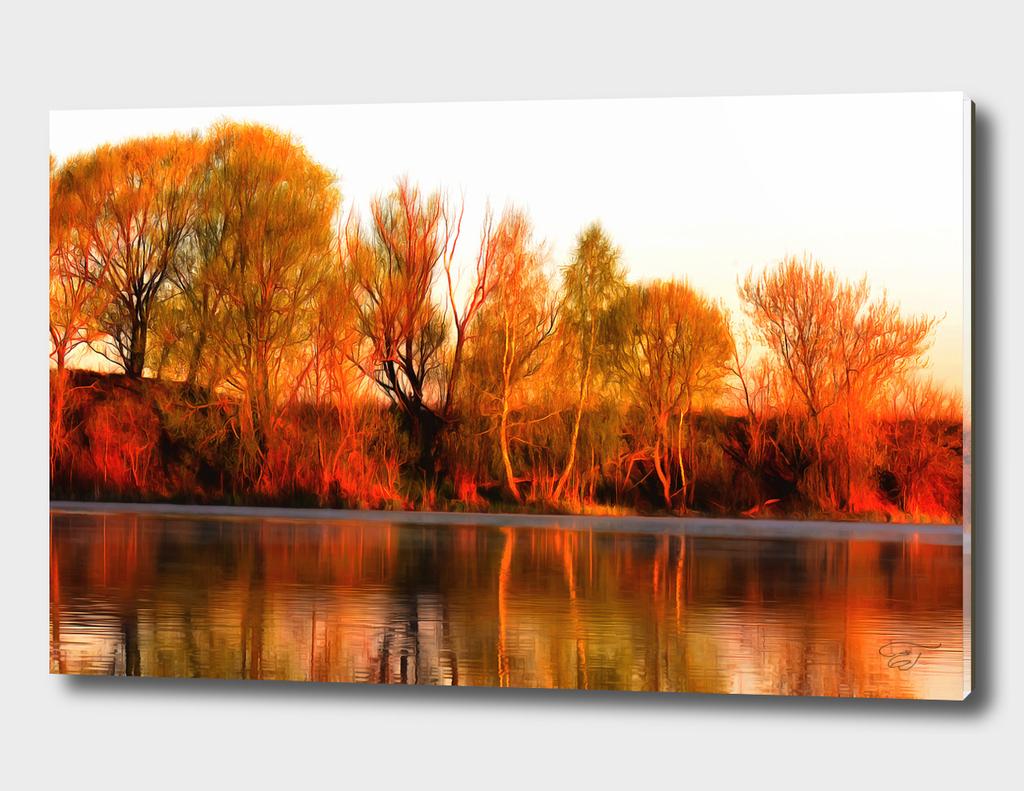 The riverbank at dawn