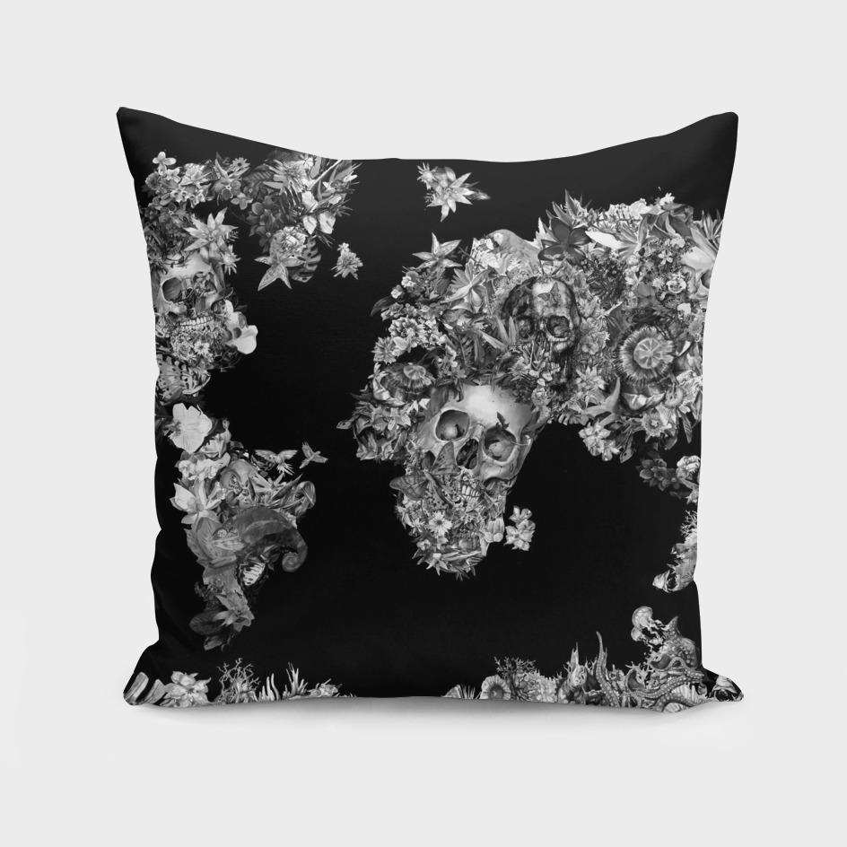 world map skull flowers 3