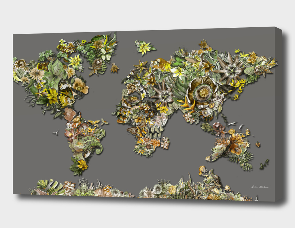 world map tropical flowers