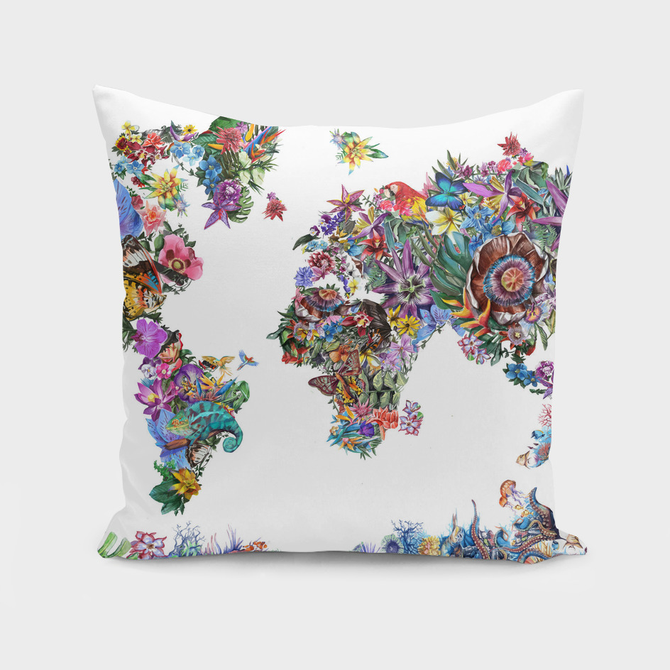world map tropical flowers 3