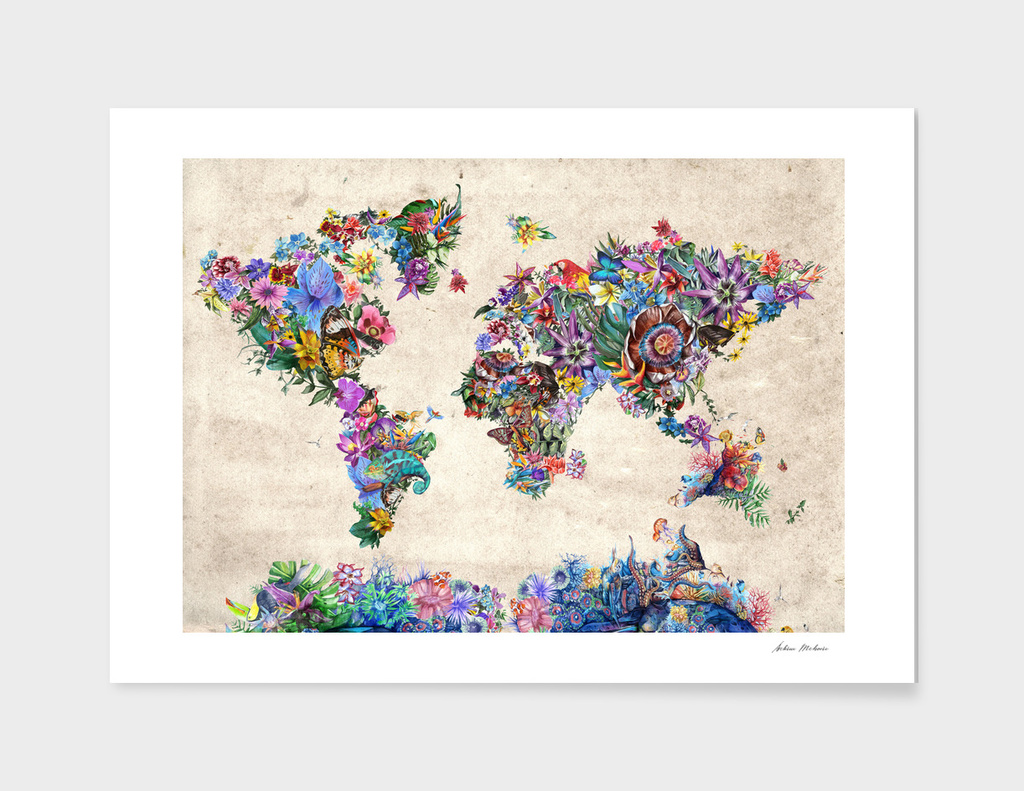 world map tropical flowers 4