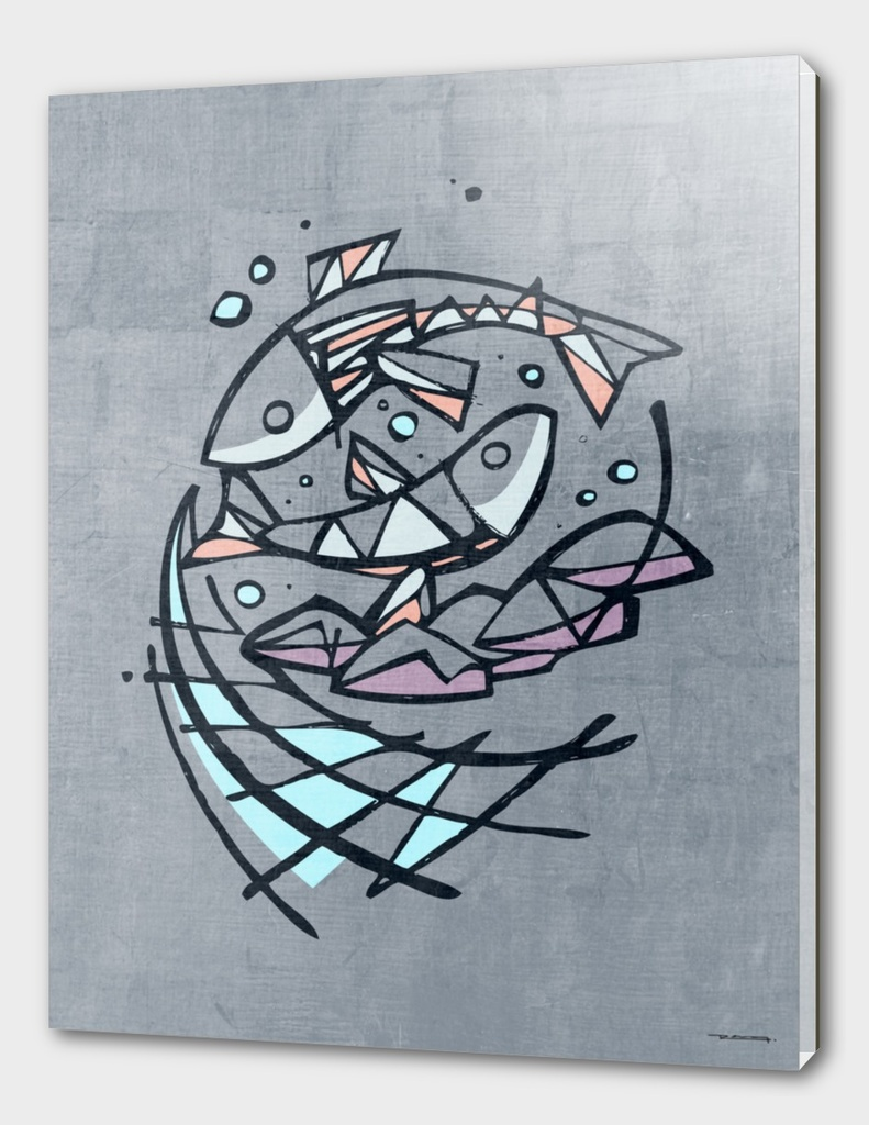 Five breads and two fishes illustration