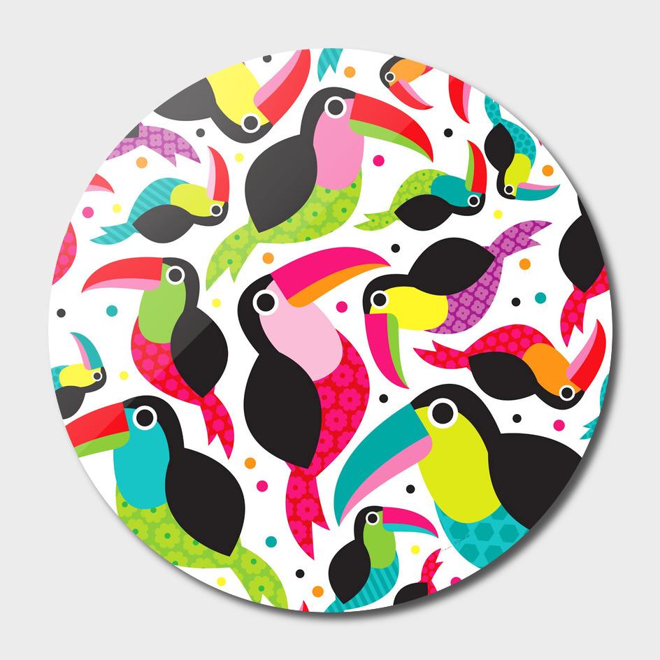 Colorful Toucan retro kids pattern bird animals rainb