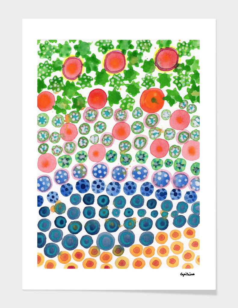 Playful Green Stars and Colorful Circles Pattern