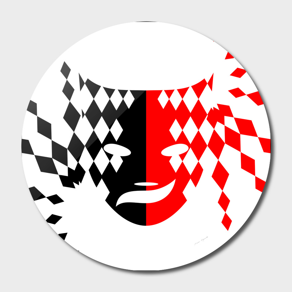 face mask red black plaid triangle wave chevron