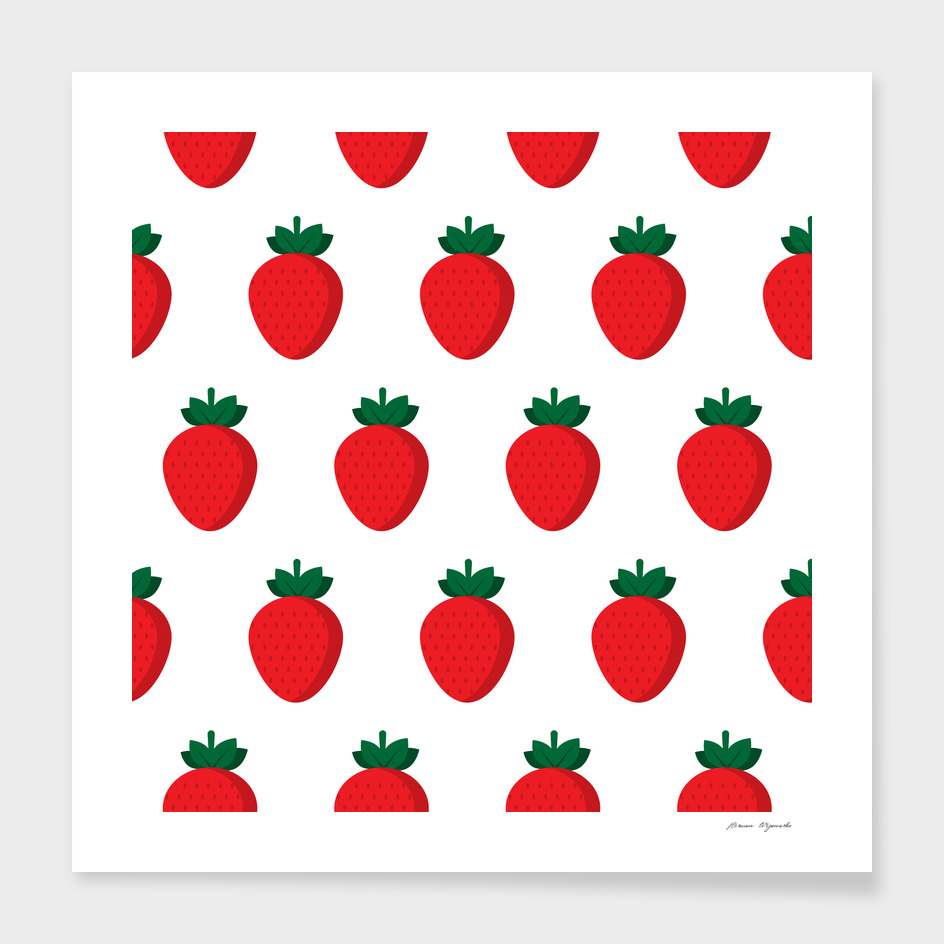 fruit strawberries red green