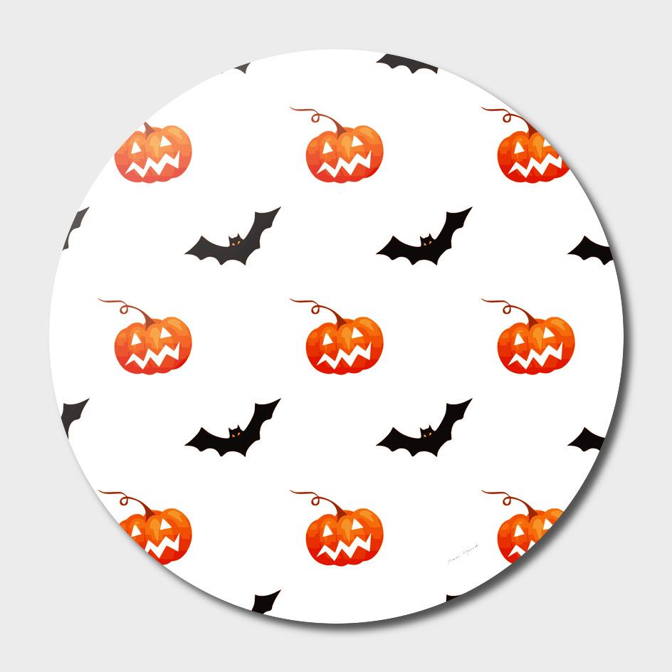 halloween seamless pumpkin bat orange black sinister