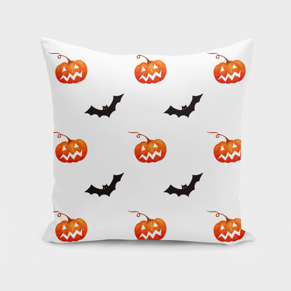 halloween seamless pumpkin bat orange black sinister
