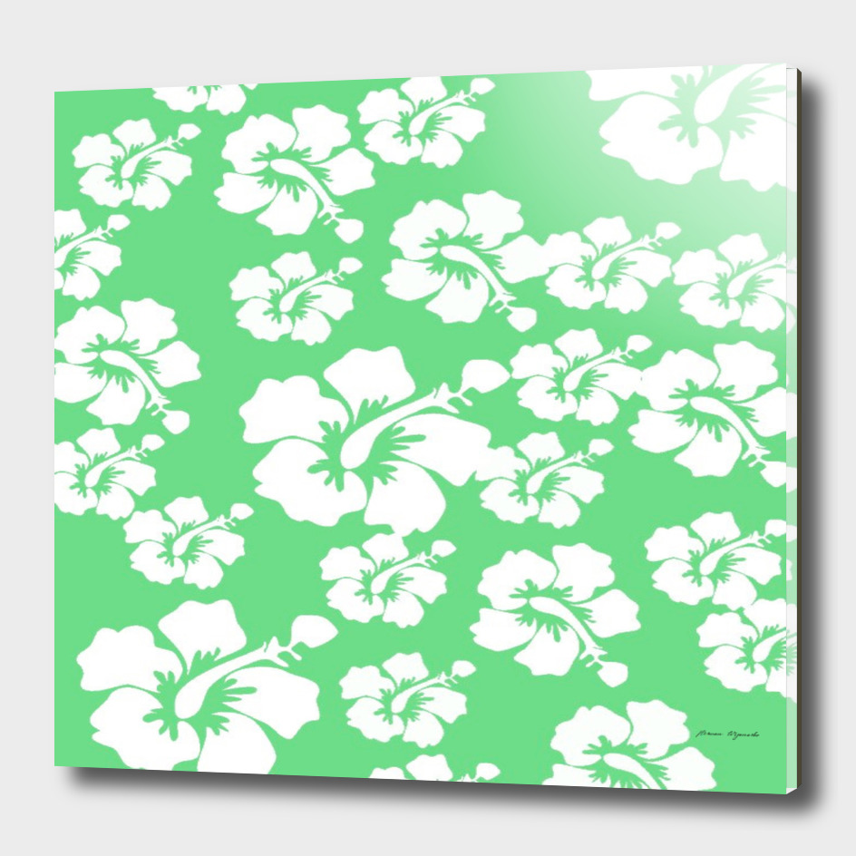 hibiscus flowers green white hawaiian