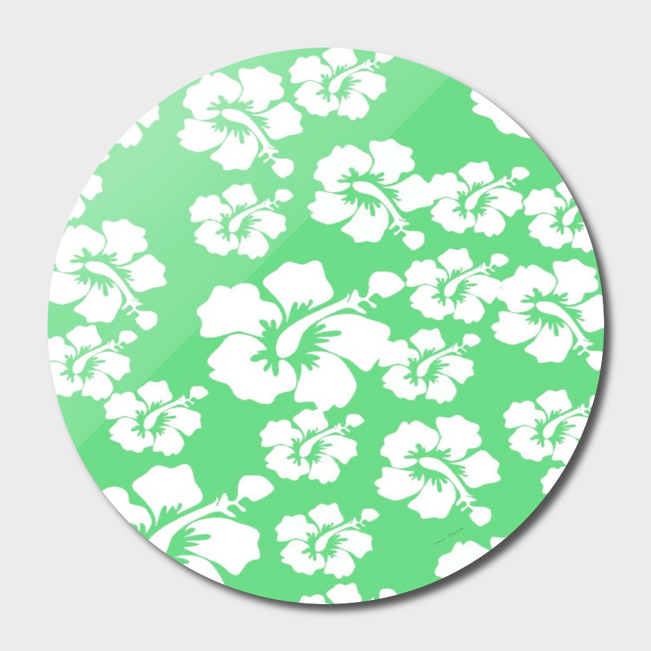 hibiscus flowers green white hawaiian