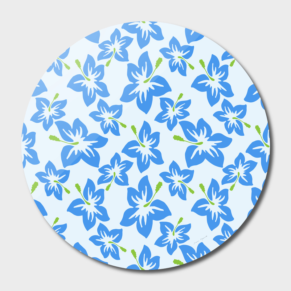 Hibiscus Flowers Seamless blue