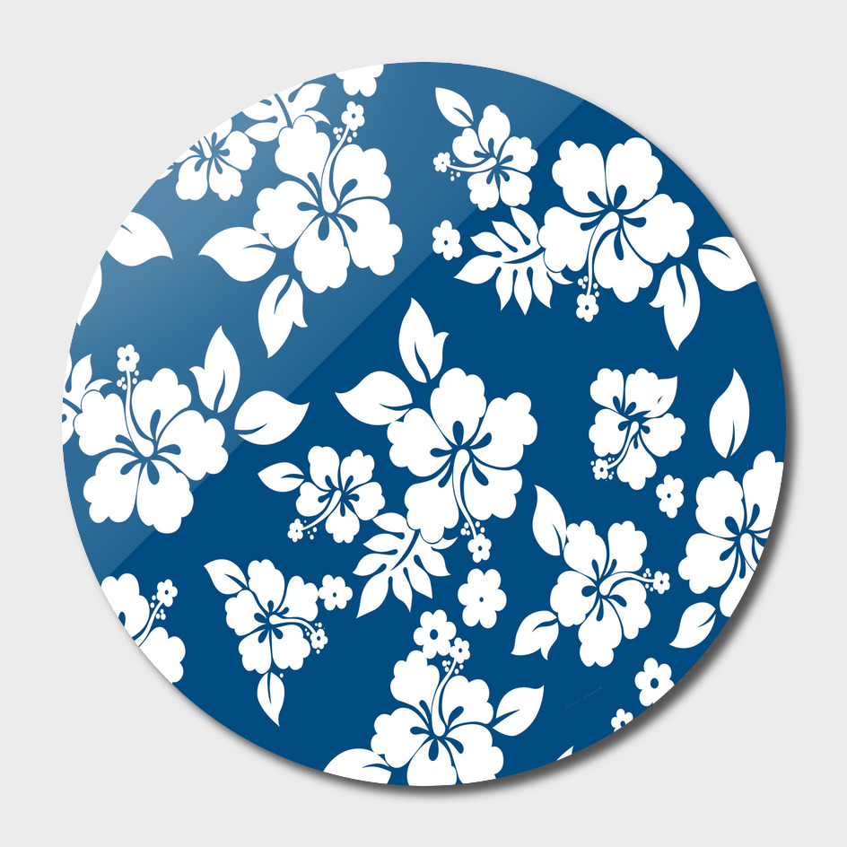 Hibiscus Flowers Seamless blue white hawaiian