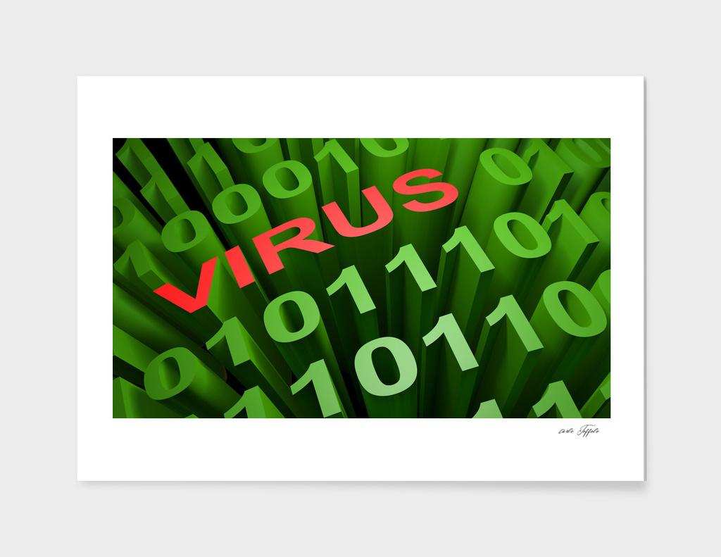 VIRUS in the binary code - 3D rendering