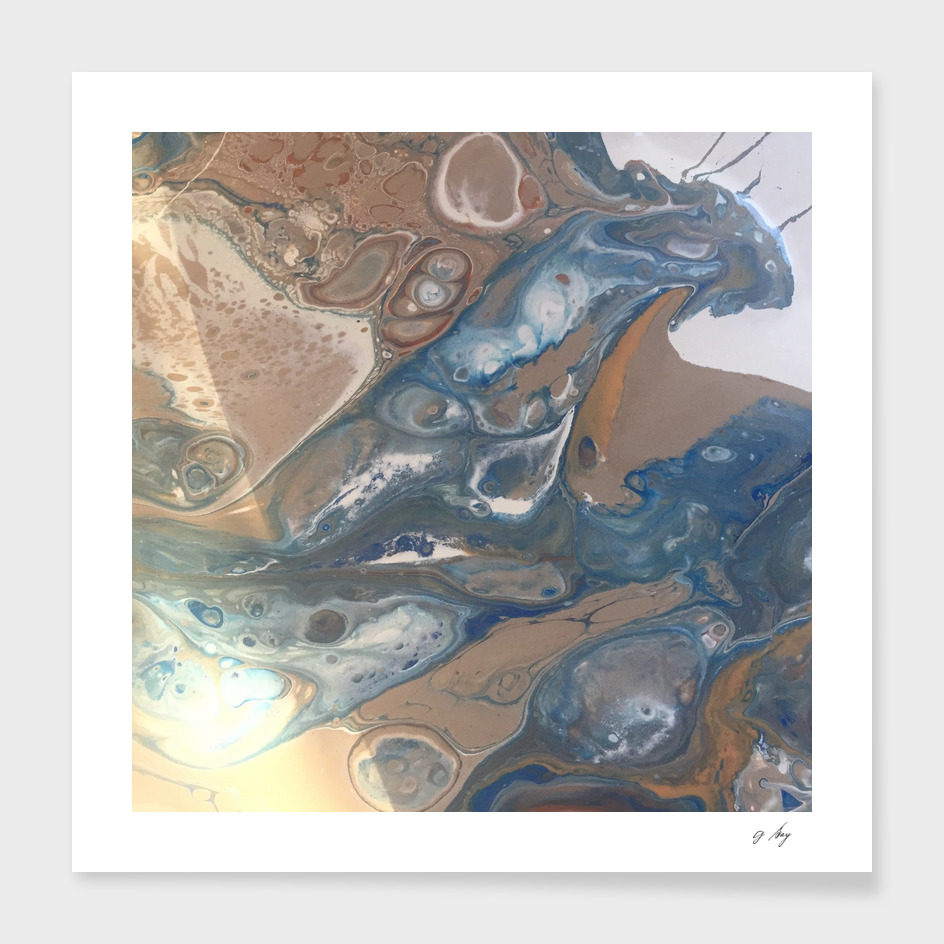 Teal and blue acrylic abstract
