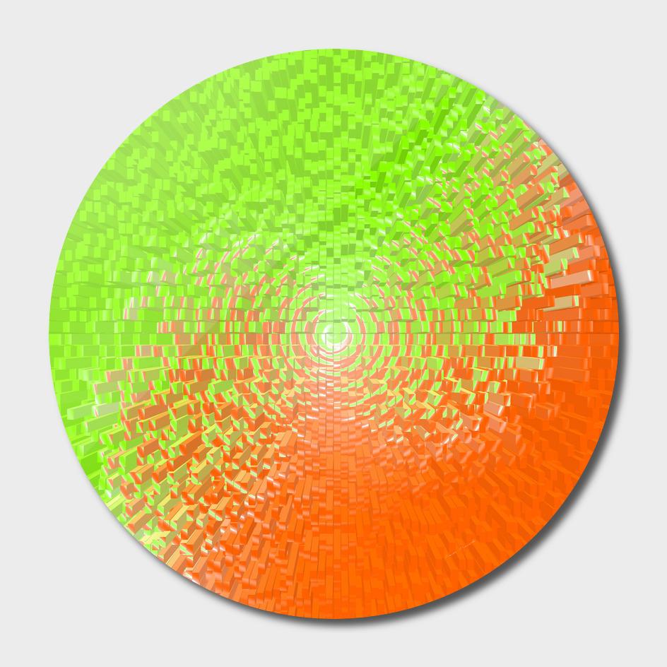 plaid green orange white circle