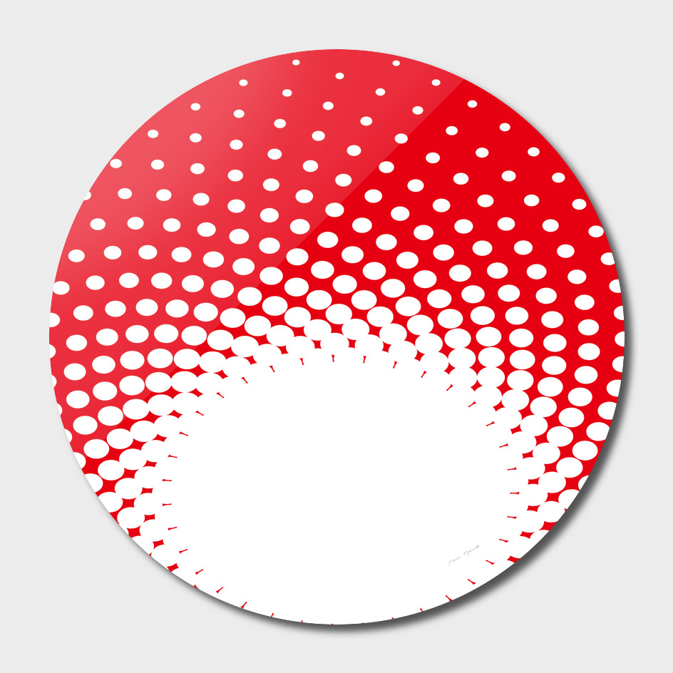 polka dot circle hole red white