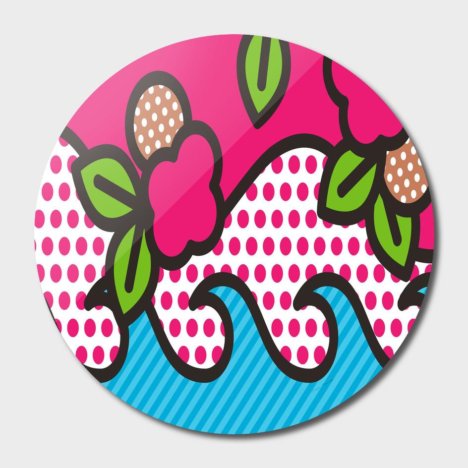 rose floral circle line polka dot leaf pink blue gree