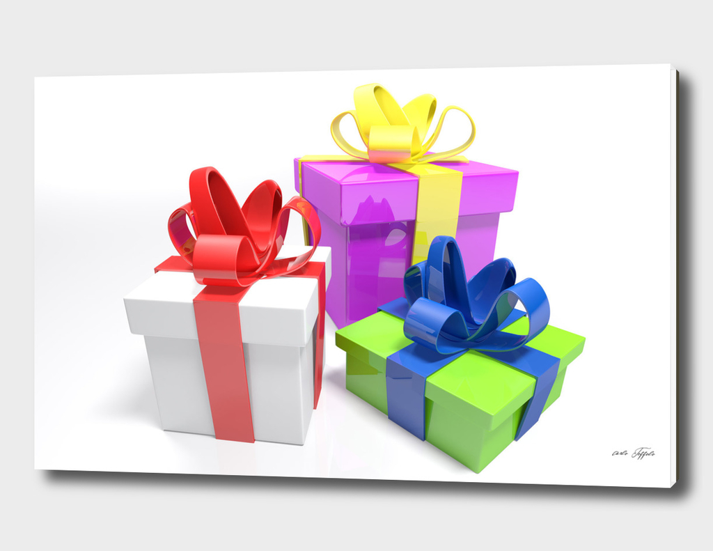 Three gift boxes on white surface - 3D rendering