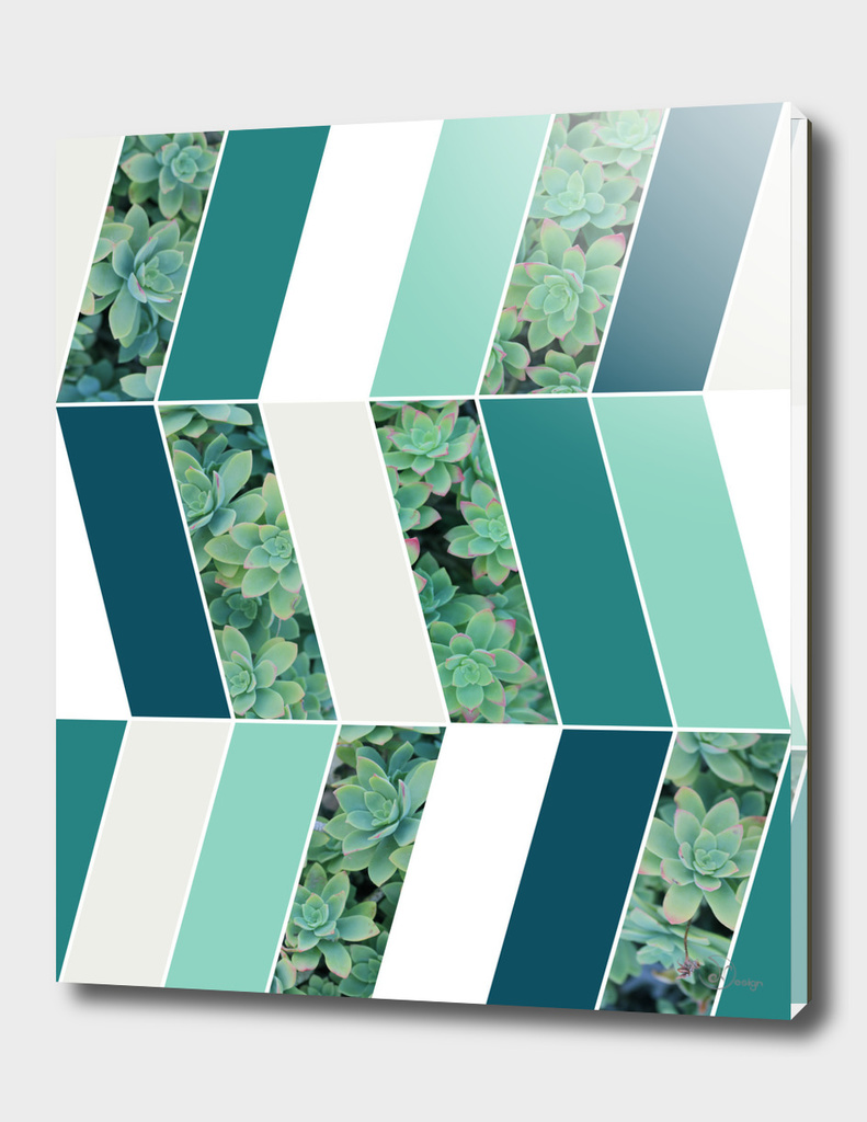 Teal Herringbone