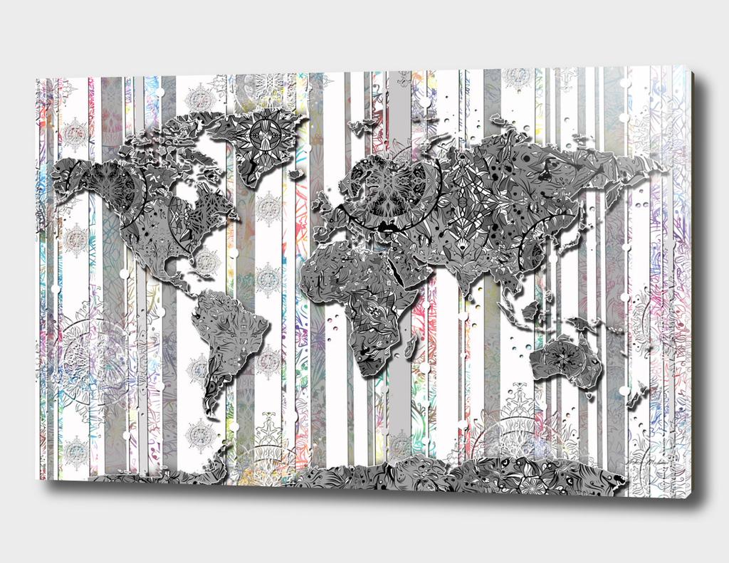 world map mandala grey