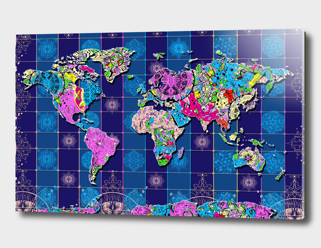world map mandala blue